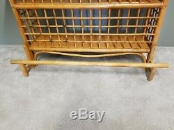 Large Vintage MCM Mid Century Modern Bamboo Rattan 3 Tier Tiki Bar
