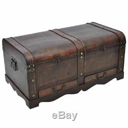 Large Wood Treasure Chest Trunk Vintage Coffee Table Storage Cabinet Home Latch