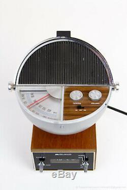MIDLAND Vintage Space Age Sphere Clock AM FM Radio Mid-Century Modern Rare Wood