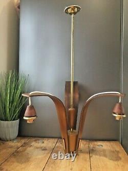 MID Century Modern Danish Bentwood Teak 3 Arm Ceiling Light Vintage 1960's 70's
