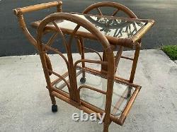 MID Century Vintage Bamboo Rattan 2 Tier Rolling Serving Bar Loop Cart