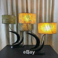Majestic lamp PAIR fiberglass shades mid century atomic lighting 1950s vintage