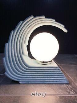 MidCentury Art Deco Table Lamp Wave Shell Retro Vintage Lighting Decor Blue MCM