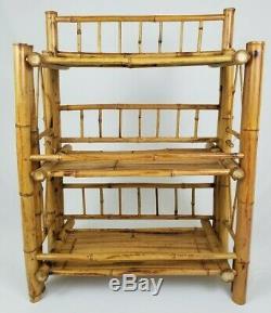 Mid-Century Bamboo Rattan Bookcase Curio Shelf Chinoiserie Vintage