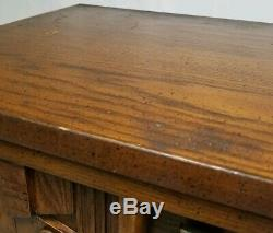 Mid-Century Brutalist End Table Walnut Nightstand Vintage