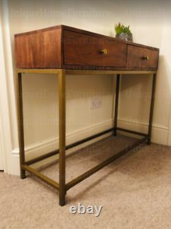Mid Century Console Table Vintage Storage Drawers Danish Hallway Metal Furniture