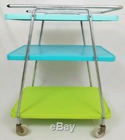Mid-Century Cosco Cart 3-Tier Utility Kitchen Bar Stand Retro Atomic Vintage