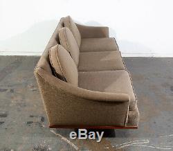 Mid Century Danish Modern Crescent Three-Seat Sofa Grey Tweed Fabric Vintage