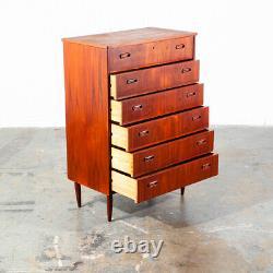 Mid Century Danish Modern Highboy Dresser 6 Drawer Teak Lock Denmark Vintage
