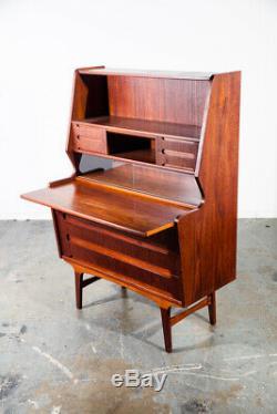 Mid Century Danish Modern Secretary Desk Teak Pull Out Drawers Office Vintage VG