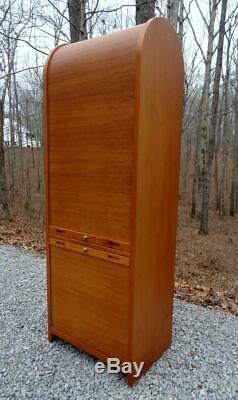 Mid Century Danish Modern Teak Tambour Cabinet Vintage Storage File
