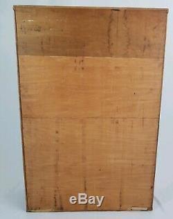Mid-Century Danish Modern walnut bookcase sliding doors cabinet topper vintage
