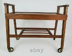 Mid-Century Danish Walnut Wood Bar Cart 2 Tier Rolling Stereo TV Stand Vintage