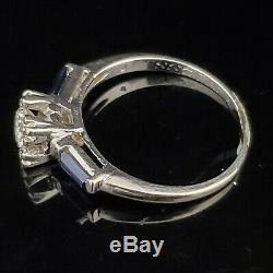 Mid Century Diamond Sapphire Ring 14k White Gold Engagement Vintage Estate Gift