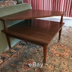 Mid Century Modern 2 Tier Corner End Table Formica Top Side Table Vtg Peg Leg