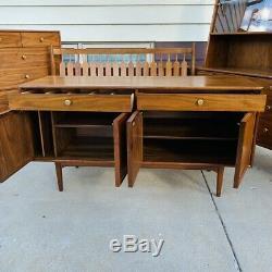 Mid-Century Modern 5 Piece Kipp Stewart Drexel Declaration Walnut Furniture Set