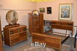Mid Century Modern Art Deco Waterfall Full Size Bedroom Set Vintage Furniture