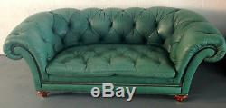 Mid-Century Modern Baker Chesterfield Sofa in Vintage English Green Leather