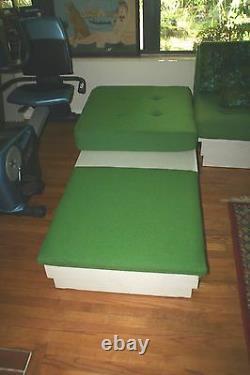 Mid-Century Modern Bright Green Modular Sofa Vintage Fabric Retro Color