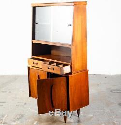 Mid Century Modern China Cabinet Hutch Drawers Glass Display Garrison Vintage