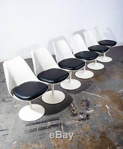 Mid Century Modern Dining Set Knoll Eero Saarinen Tulip Black Vintage 6 Chairs