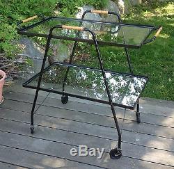 Mid Century Modern Iron Glass Tea Serving Cart Vtg Bar Minimalist Salterini Era
