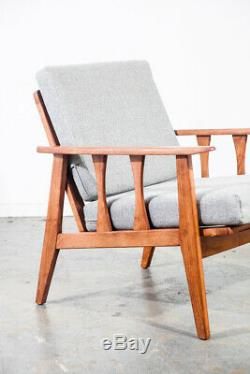 Mid Century Modern Lounge Chairs Pair Set Two Brown Grey Restored Vintage