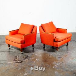 Mid Century Modern Lounge chairs Salmon Red Solid Walnut Rolling Pair Vintage NM