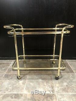 Mid Century Modern Martini Wine Bar Tea Cart Gold/Brass Glass Vintage Serving