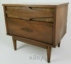 Mid Century Modern Nightstand End Table Two Drawer Dovetail Retro Vintage