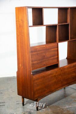 Mid Century Modern Room Divider Wall Unit Credenza Cabinet Walnut Vintage Danish