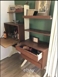 Mid Century Modern Room Divider Wall Unit Desk Cabinet Walnut Vintage