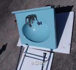 Mid Century Modern Sink Chrome Legs Vintage Twilight Blue Classic Color 024 MCM