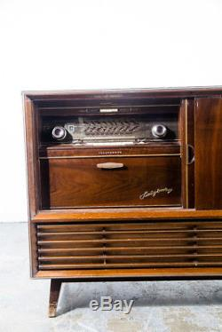 Mid Century Modern Stereo Console Telefunken Record Player Radio Vintage Working