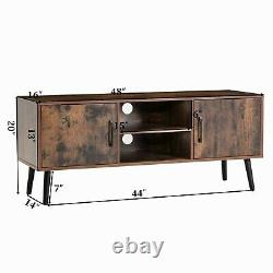 Mid-Century Modern TV Stand Console Table Open Shelf Storage Brown Easy Assembly