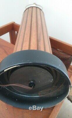 Mid Century Modern Table Lamp Danish Shades Teak Wood Slats Hans Wegner Vintage