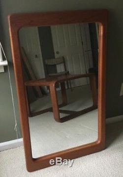 Mid Century Modern Teak Large Hanging Mirror Vintage