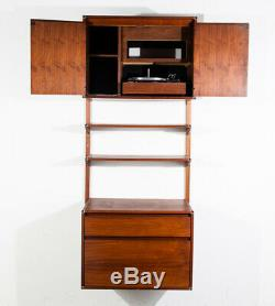 Mid Century Modern Wall Unit Barzilay Stereo Cabinet Walnut Cado Royal Vintage