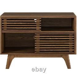 Mid-Century Modern Walnut Wood Two-Shelf Display Stand Server Console