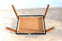 Mid Century Modernist Vintage Danish Oak Black Leatherette Desk Stool /789