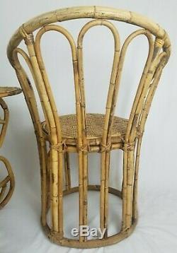Mid-Century Rattan Bamboo Bistro Set Table Chairs Albini Style Bohemian Vintage