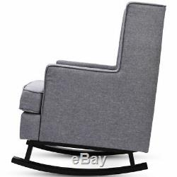 Mid-Century Retro Fabric Upholstered Rocking Chair Button-Tufted Wingback Gray