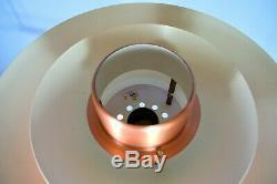Mid Century Retro Vintage Danish Copper Metal Pendant Ceiling Form Light 1970s