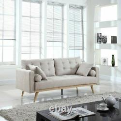 Mid-Century Sofa Vintage Style Couch with Wood Frame and Legs Tufted, Light Grey