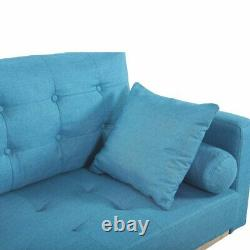 Mid Century Sofa Vintage Tufted Couch with Natural Wood Frame and Legs, Sky Blue