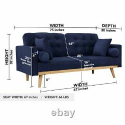 Mid Century Sofa Vintage with Tufted Cushions, Bolster & Throw Pillows Navy Blue