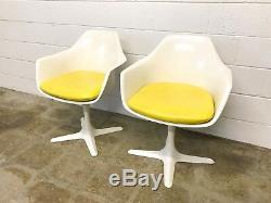 Mid Century Tulip Chairs Burke Saarinen Tulip Armchairs Yellow Pair Vintage