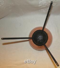 Mid Century Vintage Fiberglass Bullet Planter on Attached Iron Tripod Base