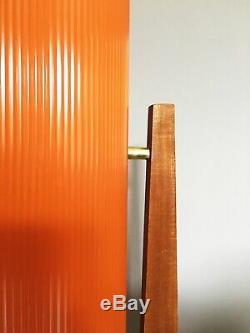 Mid Century Vintage Tangerine Fibreglass & Teak Rocket Lamp 1960 70s