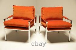 Milo Baughman Chrome Lounge chairs in Hermes Orange Velvet